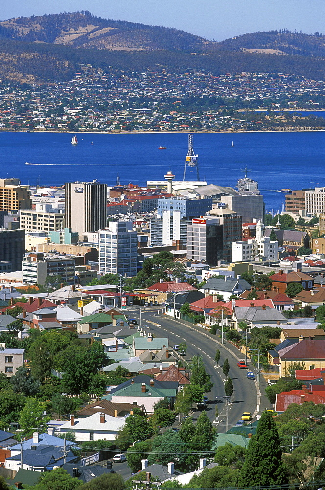 Looking east across the centre of the state capital  towards the River Derwent, Hobart, Tasmania, Australia, Pacific