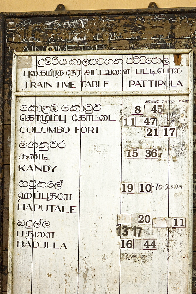 Timetable for the Colombo to Badulla train at Pattipola, highest railway station in Sri Lanka, 1892m, Pattipola, Sri Lanka, Asia