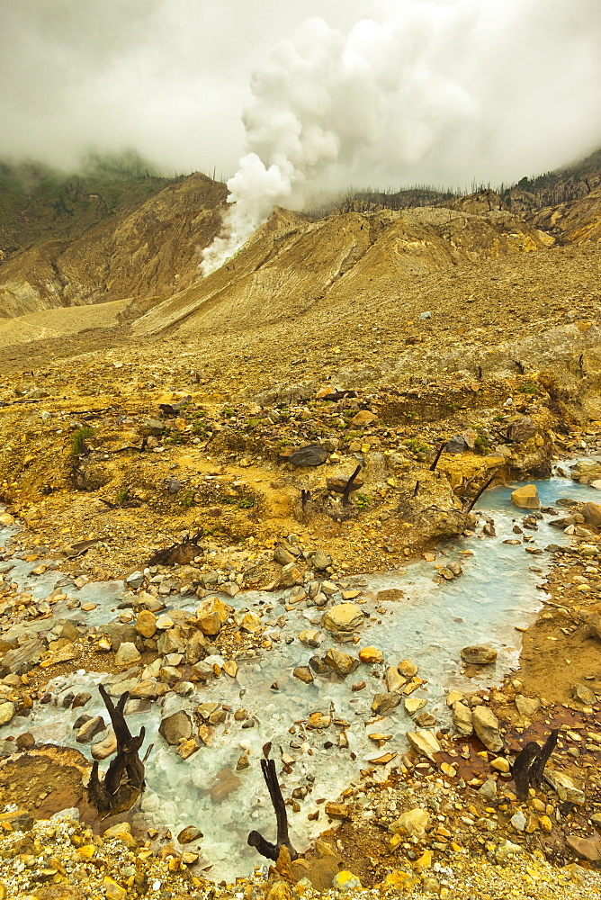 Fumaroles on collapsed side of Papandayan Volcano, an active four crater caldera, Garut, West Java, Java, Indonesia, Southeast Asia, Asia