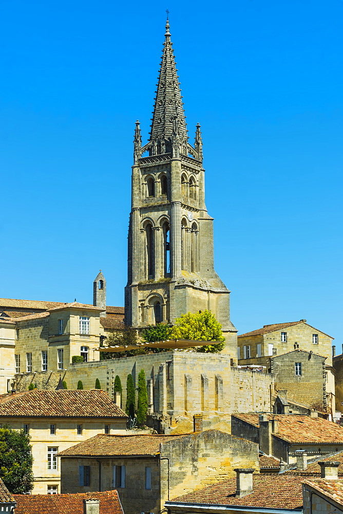 The 53 metre bell tower of the 13th century church in this historic town and famous Bordeaux red wine region, Saint Emilion, Gironde, France, Europe