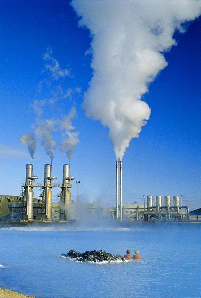 Geo thermal power plant in Svartsengi (Black Field) area, Iceland - 83-2595