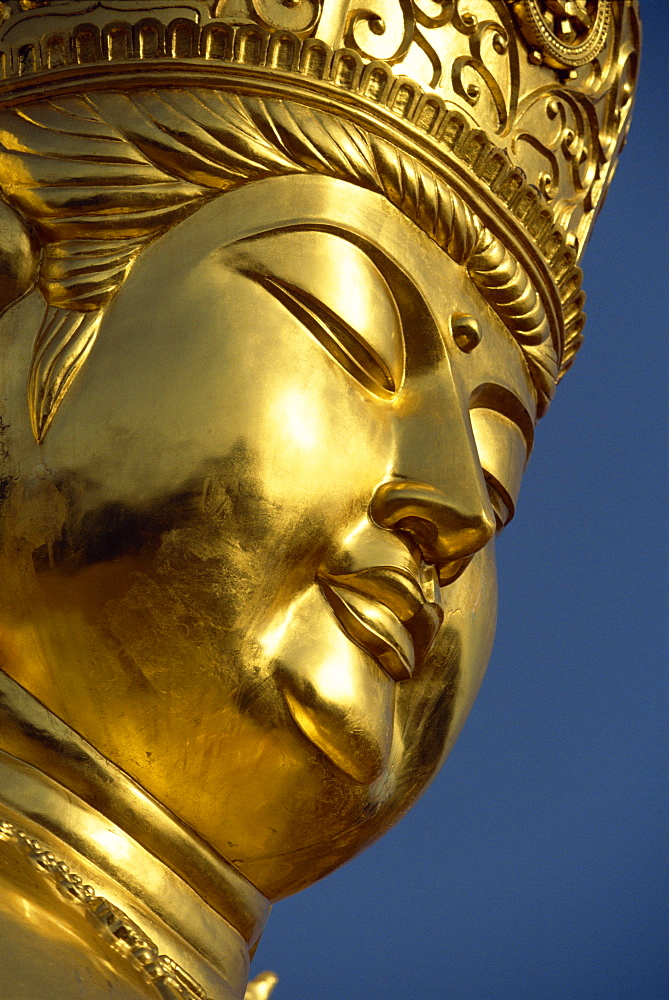 Close-up of the face of the golden Buddha at a new shrine near religious centre of Koyasan on Kii Peninsula, in western Honshu, Japan, Asia - 83-5461