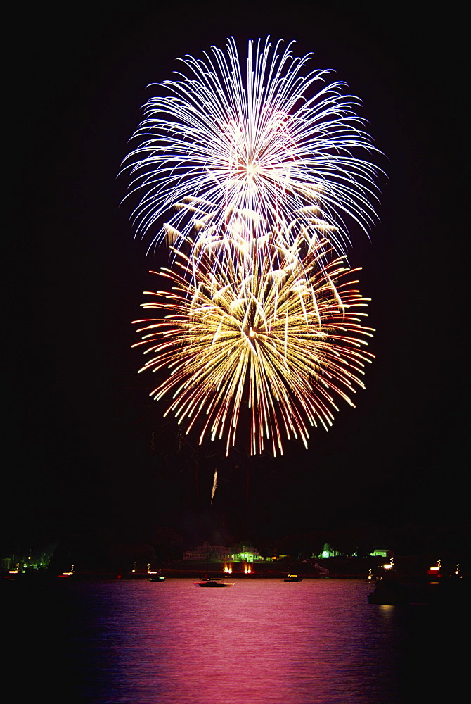 Fourth of July firework display, Portsmouth, Rhode Island, New England, United States of America, North America