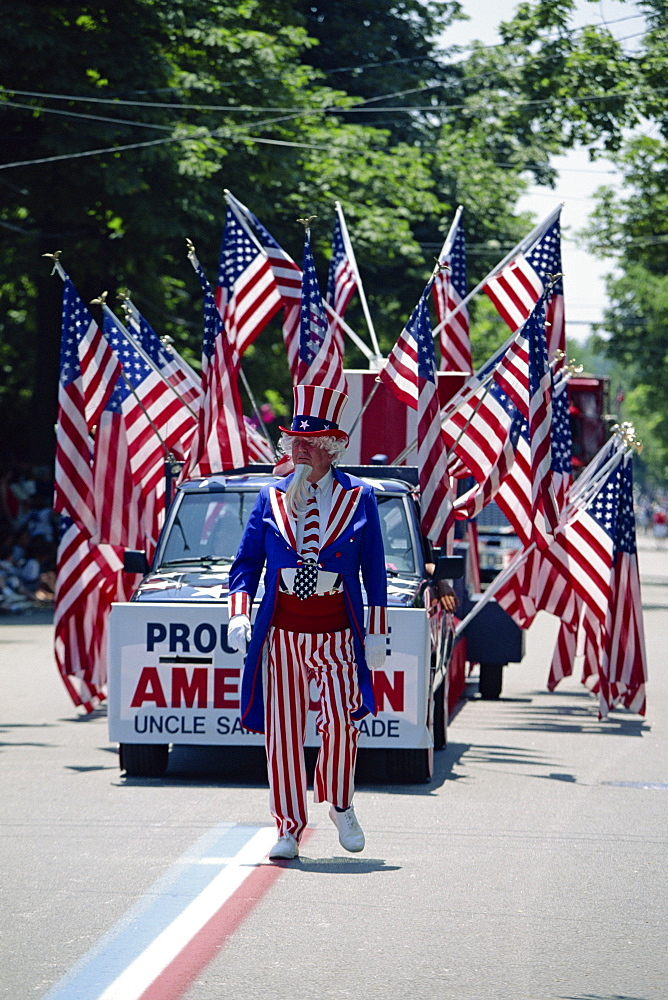Uncle Sam leading Bristol's famous 4th of July parade, the oldest in the U.S.A., Bristol, Rhode Island, New England, United States of America, North America