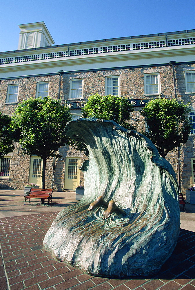 Sculpture depicting someone diving into a wave, Newport, Rhode Island, New England, United States of America, North America
