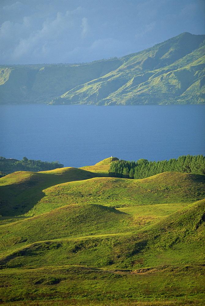View north from Samosir Island near Ambarita towards north shore of Lake Toba, Sumatra, Indonesia, Southeast Asia, Asia