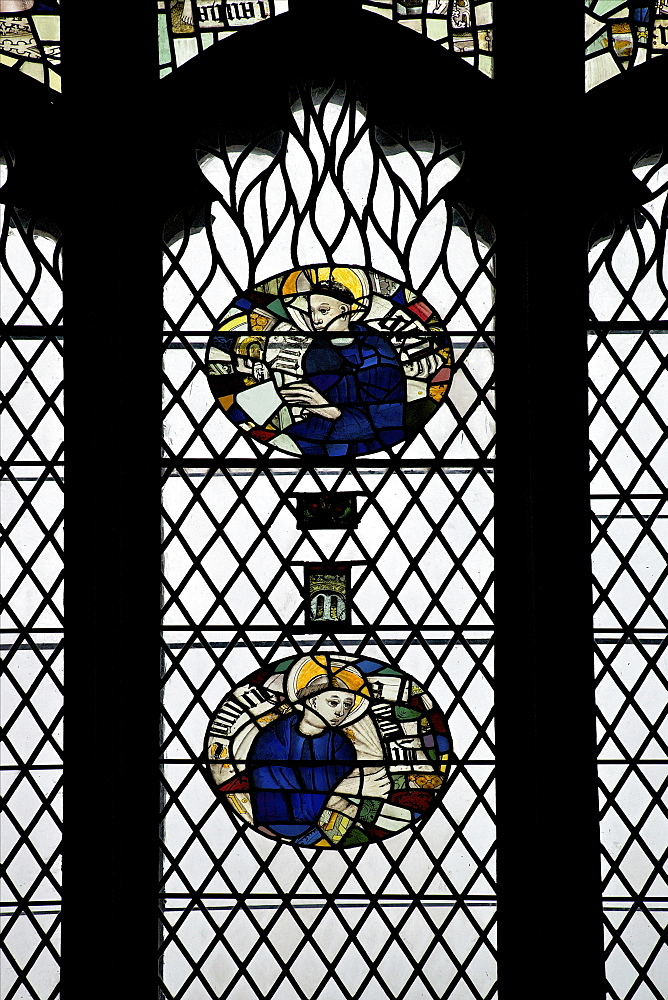 Monks in stained glass, Galilee Chapel, Durham Cathedral, County Durham, England, United Kingdom, Europe