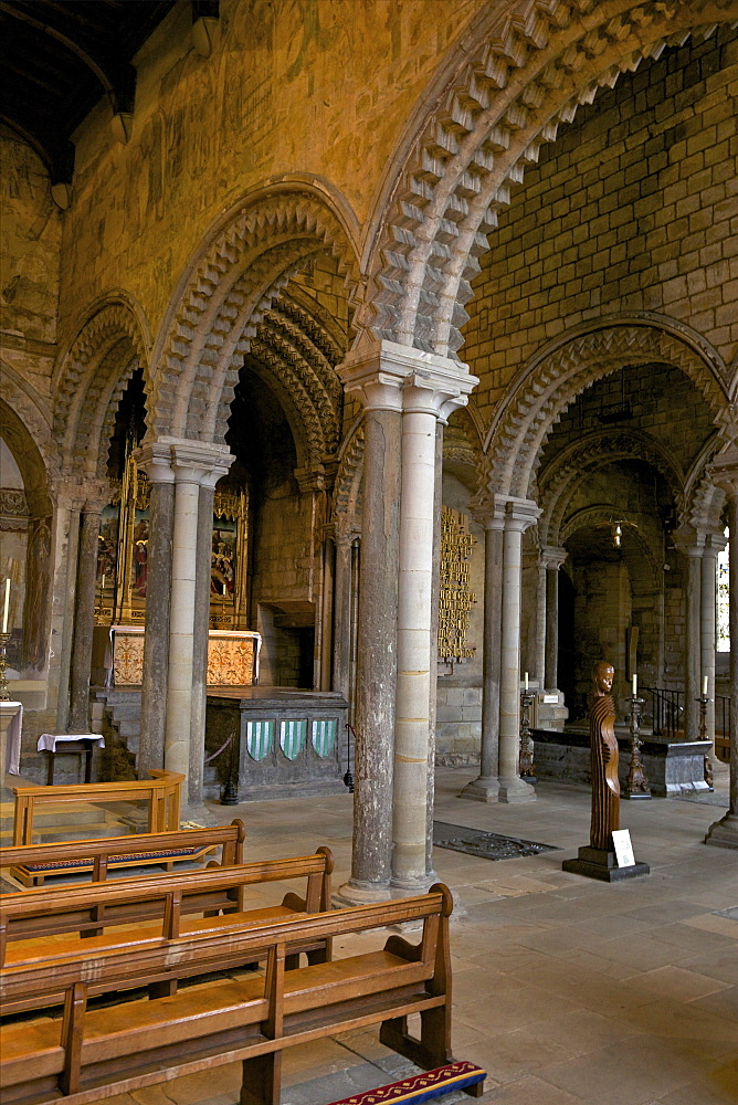 Interior of the 12th century Norman Romanesque Galilee Chapel, Durham Cathedral, County Durham, England, United Kingdom, Europe