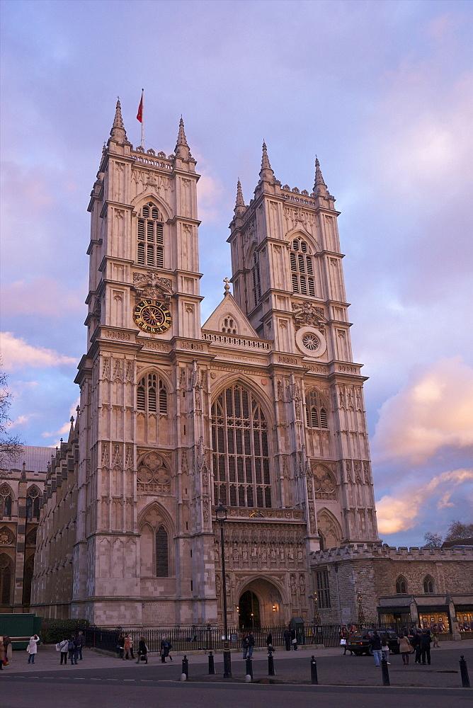 Westminster Abbey at sunset,UNESCO World Heritage Site, Westminster, London, England, United Kingdom, Europe