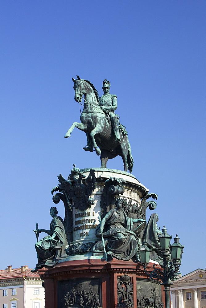 Monument to Nicholas I, St. Isaac's Ploshchad, St. Petersburg, Russia, Europe