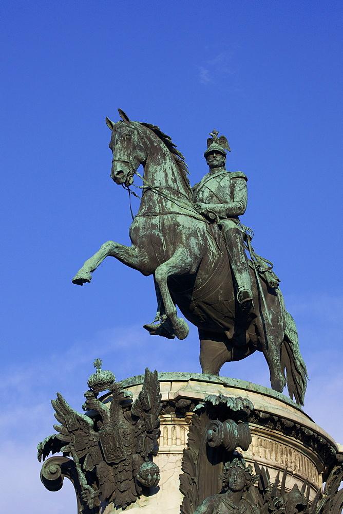 Equestrian statue of Tsar Nicholas I, St. Isaac's Square, St. Petersburg, Russia, Europe