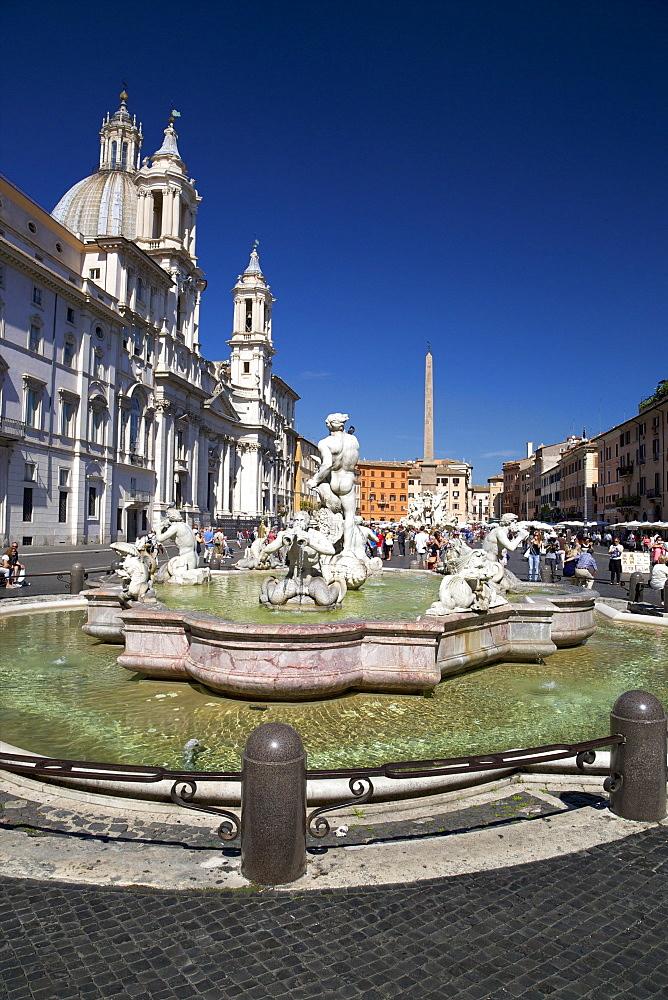 Moor Fountain (Fontana del Moro), Piazza Navona, Rome, Lazio, Italy, Europe