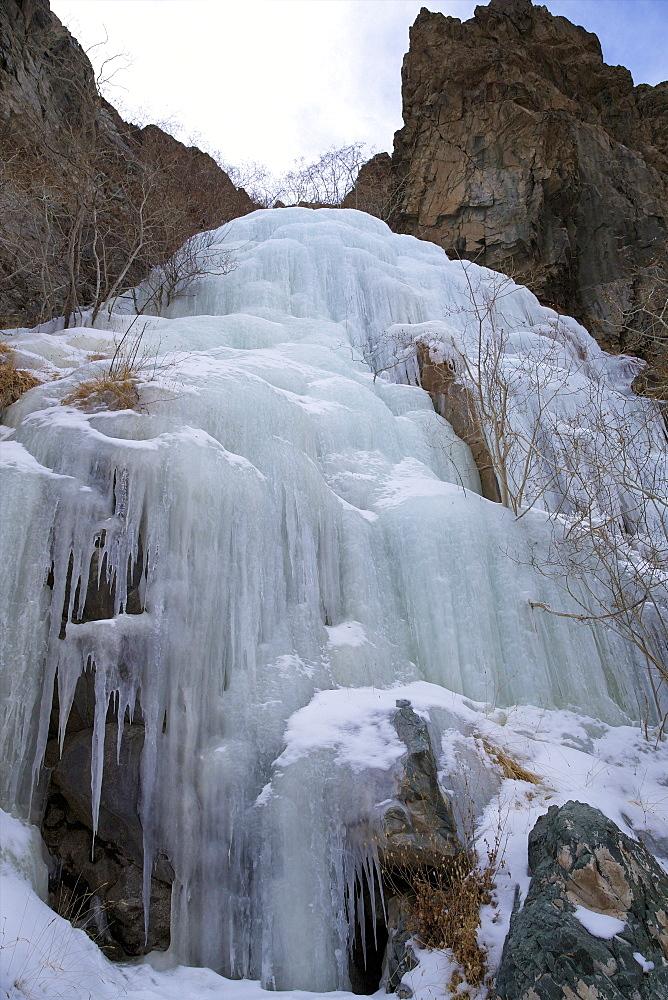 Frozen waterfall in Rumbak Valley, Hemis National Park, Ladakh, India, Asia