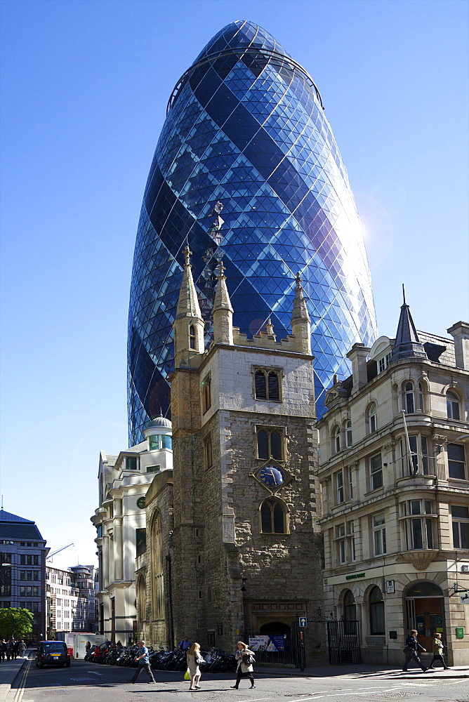 30 St Mary Axe (The Gherkin) with St. Andrew Undershaft church, City of London, England, United Kingdom, Europe - 831-1445