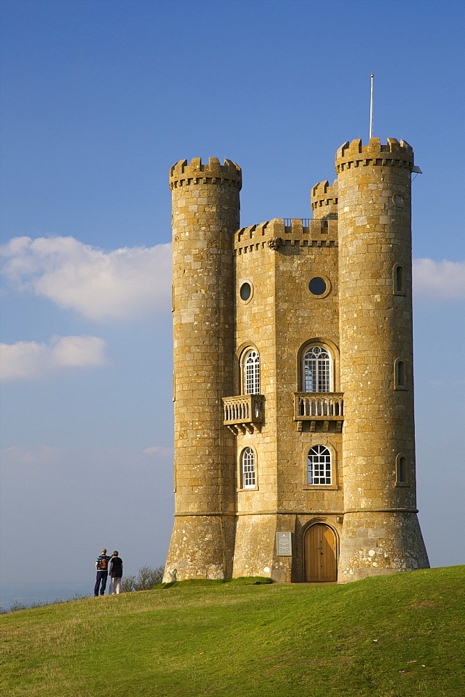 Broadway Tower in autumn sunshine, Cotswolds, Worcestershire, England, United Kingdom, Europe - 831-1460