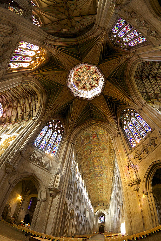 Ely Cathedral Interior, lantern and nave, Ely, Cambridgeshire, England, United Kingdom, Europe - 831-1496
