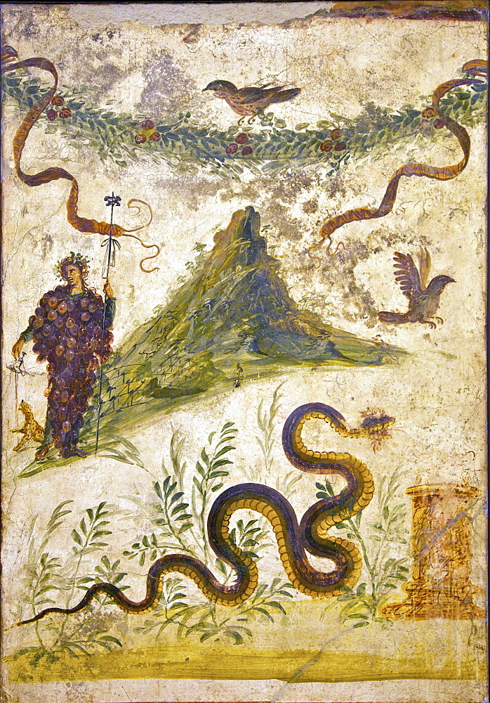 Bacchus wearing bunch of grapes pours wine for panther to drink, House of Centenary, from Pompeii, National Archaeological Museum, Naples, Campania, Italy, Europe