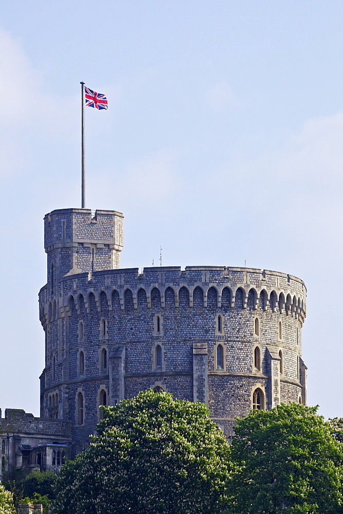 Union Jack flag flying above the Round Tower, Windsor Castle, Windsor, Berkshire, England, United Kingdom, Europe
