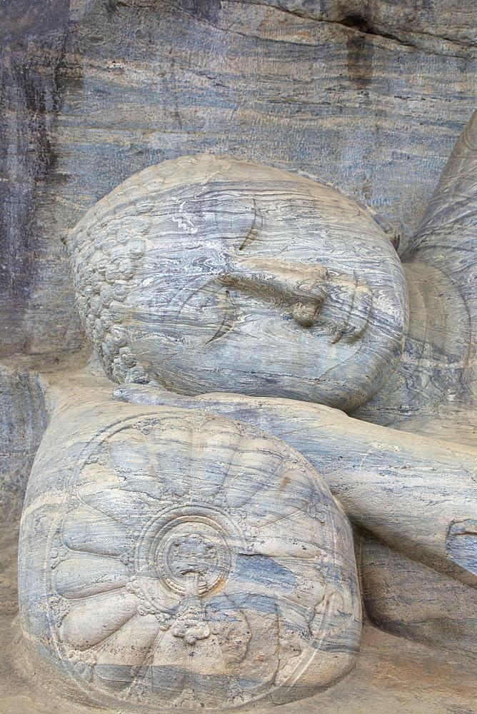 Reclining Buddha in Nirvana, Gal Vihara Rock Temple, Polonnaruwa, Sri Lanka, Asia
