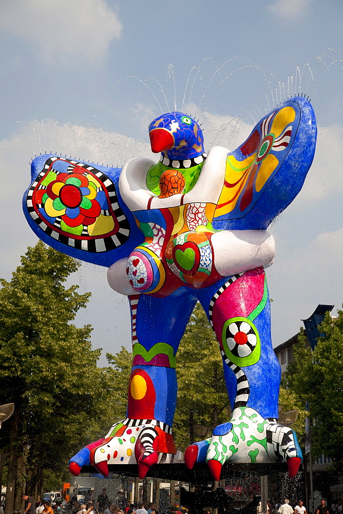 Lifesaver, sculpture by Niki de Saint Phalle, Koenigstrasse, Duisburg, Ruhrgebiet region, North Rhine-Westphalia, Germany, Europe