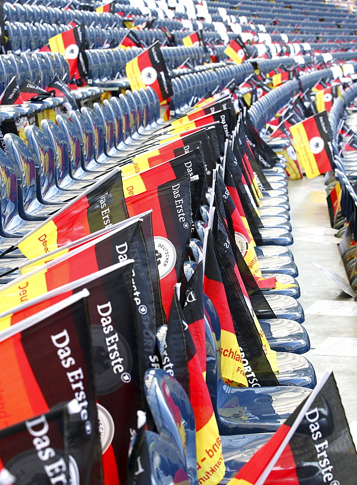German flags on every seat in the football stadium