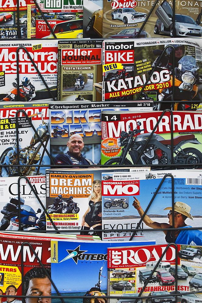Motorsport magazine on newspaper stand, German editions