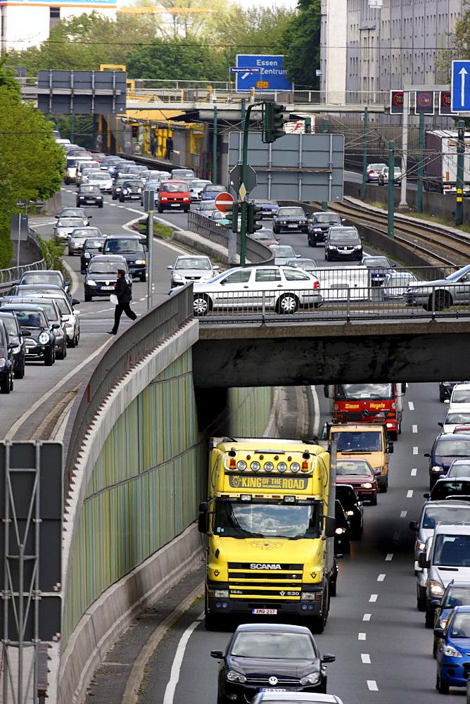 Highway A40, so-called Ruhrschnellweg, Essen, Ruhrgebiet region, North Rhine-Westphalia, Germany, Europe