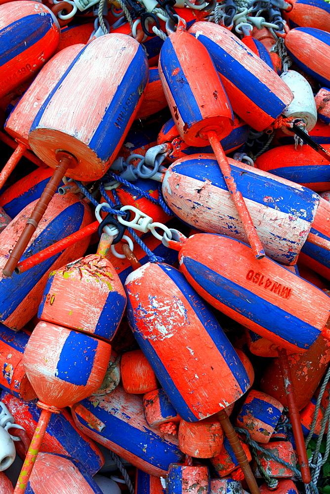 Lobster buoys, Monhegan Island, Maine coast, New England, USA