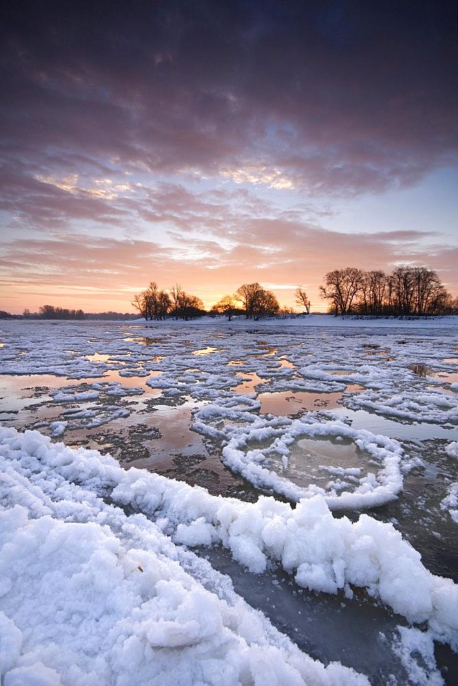 Ice floes on the river Elbe near Dessau at sunrise, Saxony-Anhalt, Germany, Europe