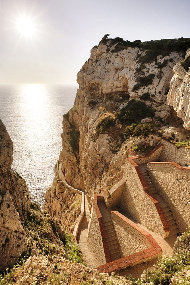 652 steps leading down to the stalactite cave Grotta di Nettuno, Neptune's Grotto, Sardinia, Italy, Europe