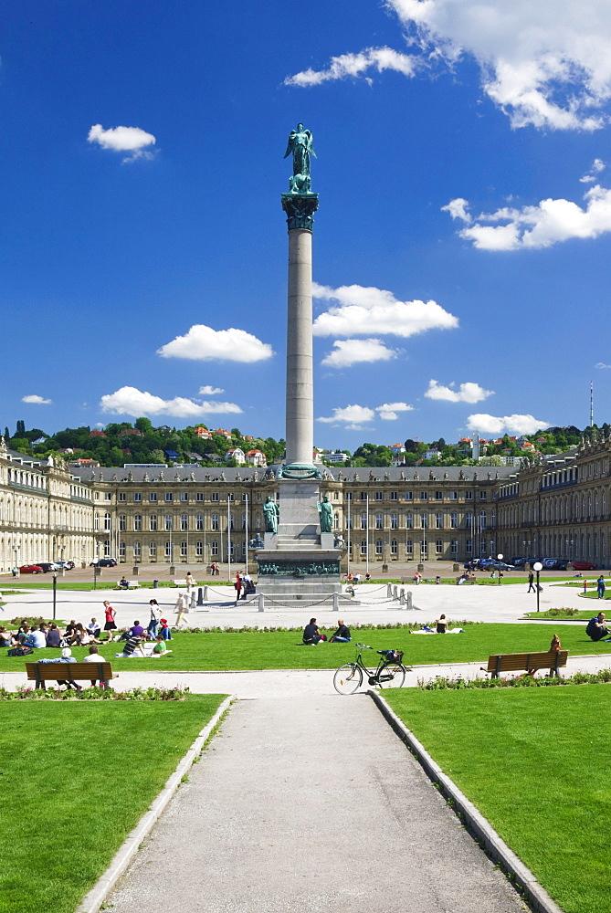 Schlossplatz square with Neuen Schloss Castle, Stuttgart, Baden-Wuerttemberg, Germany, Europe