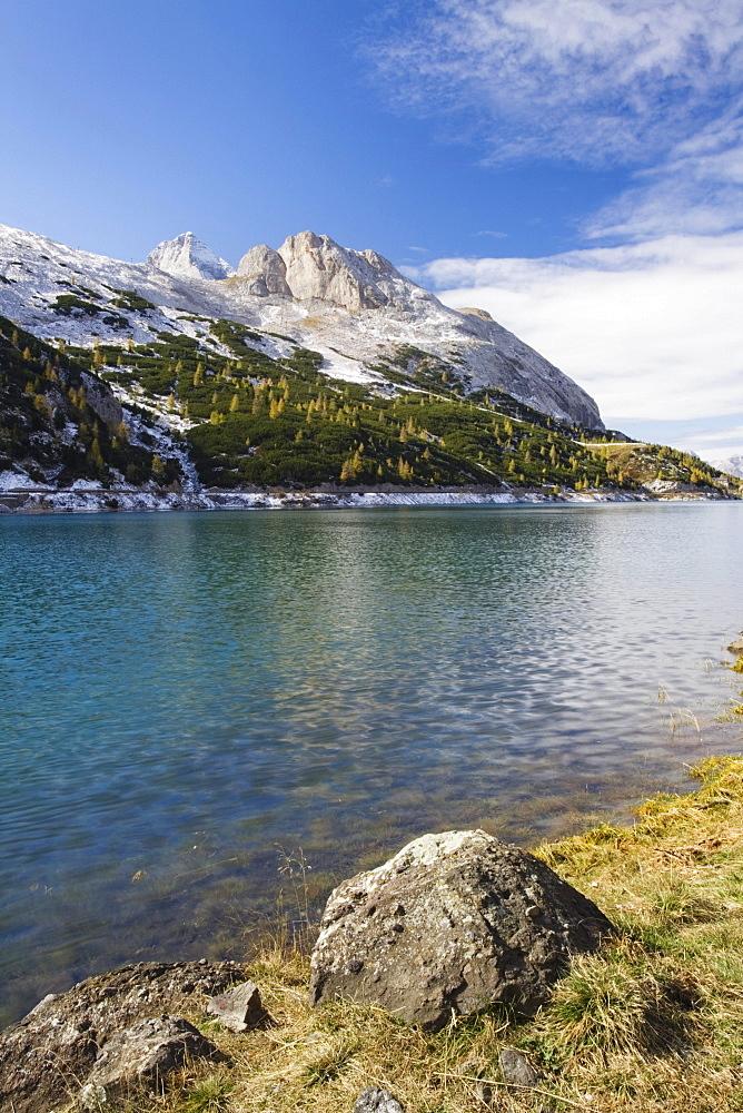 Fedaia lake and Marmolada, Dolomites, Trentino-Alto Adige, Italy, Europe