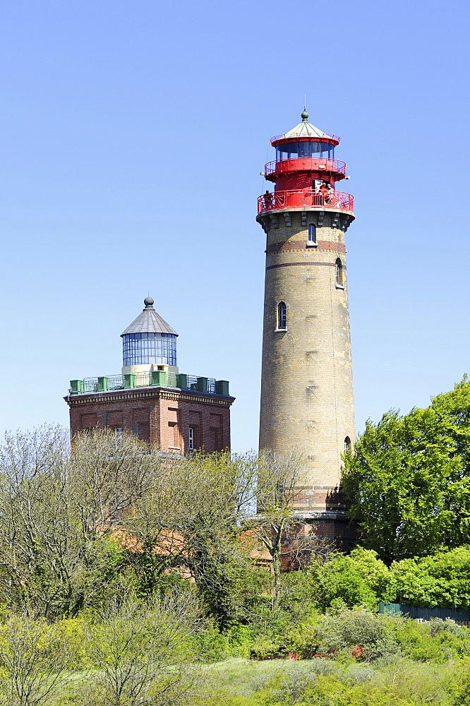 Schinkelturm Tower, 19 metres, left, and lighthouse, 35 metres, right, Cape Arkona, Ruegen Island, Mecklenburg-Western Pomerania, Germany, Europa