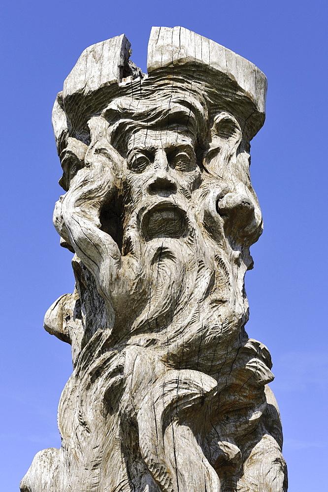 Image of the Slavic peace god Borevit, Baroviet or Porevit, wood carving, Cape Arkona, Ruegen Island, Mecklenburg-Western Pomerania, Germany, Europa