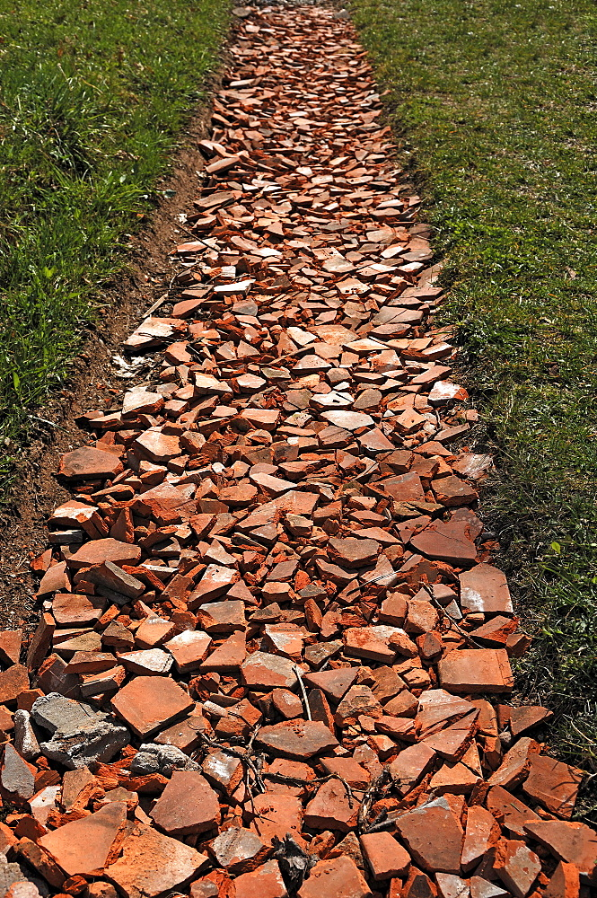 Path reinforcement with old tiles, Nuschelberg, Middle Franconia, Bavaria, Germany, Europe