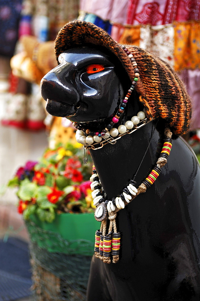Decoration, figure of a panther with a knitted cap and jewelry in front of a fashion shop, Heidelberg, Baden-Wuerttemberg, Germany, Europe