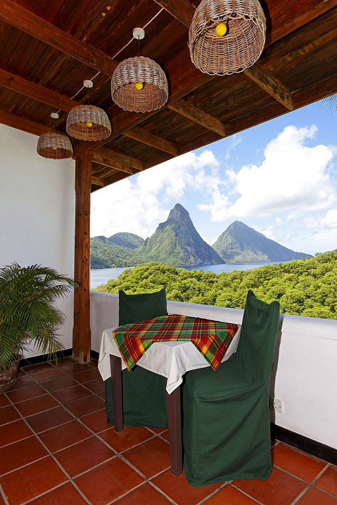 Hotelroom with table and chairs and view on the Pitons mountains, Hotel Anse Chastanet Resort, LCA, St. Lucia, Saint Lucia, Island Windward Islands, Lesser Antilles, Caribbean, Caribbean Sea