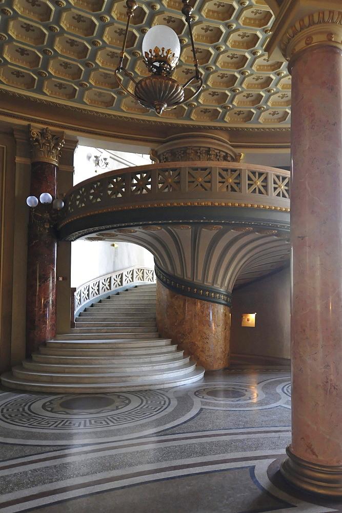 Interior, spiral staircase, Athenaeum, Bucharest, Romania, Europe