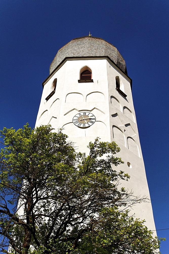 Saint Irmingard church bell tower, Fraueninsel island, lake Chiemsee, Chiemgau, Upper Bavaria, Germany, Europe