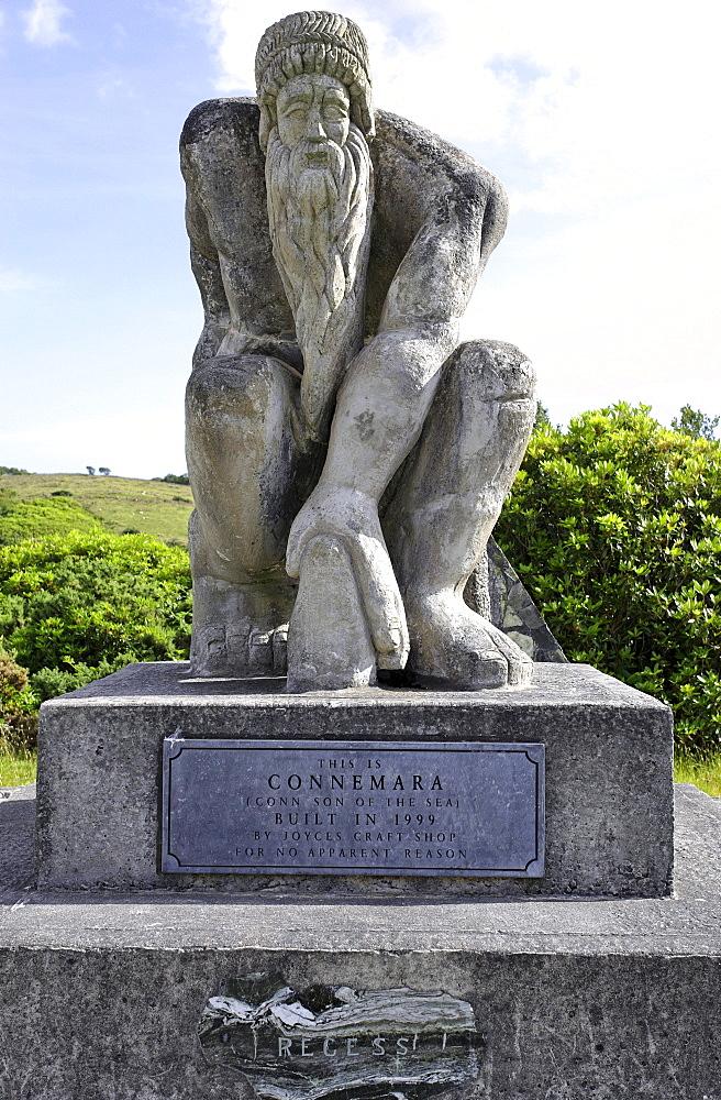 Monument for Connemara, Conn son of the sea, Recess, Connemara, Republic of Ireland, Europe - 832-105598