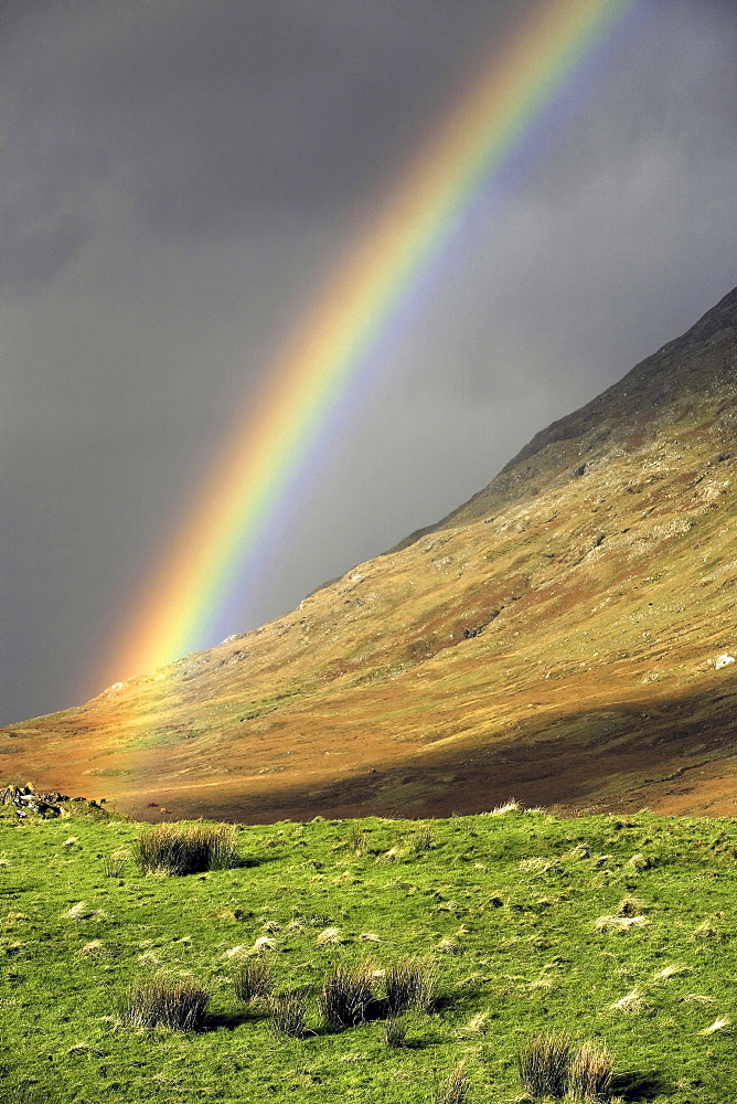 Connemara landscape, rainbow, County of Galway, Republic of Ireland, Europe