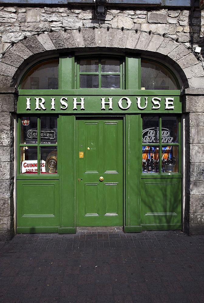 Entrance door to the Irish House, Castlebar, County Mayo, Republic of Ireland, Europe