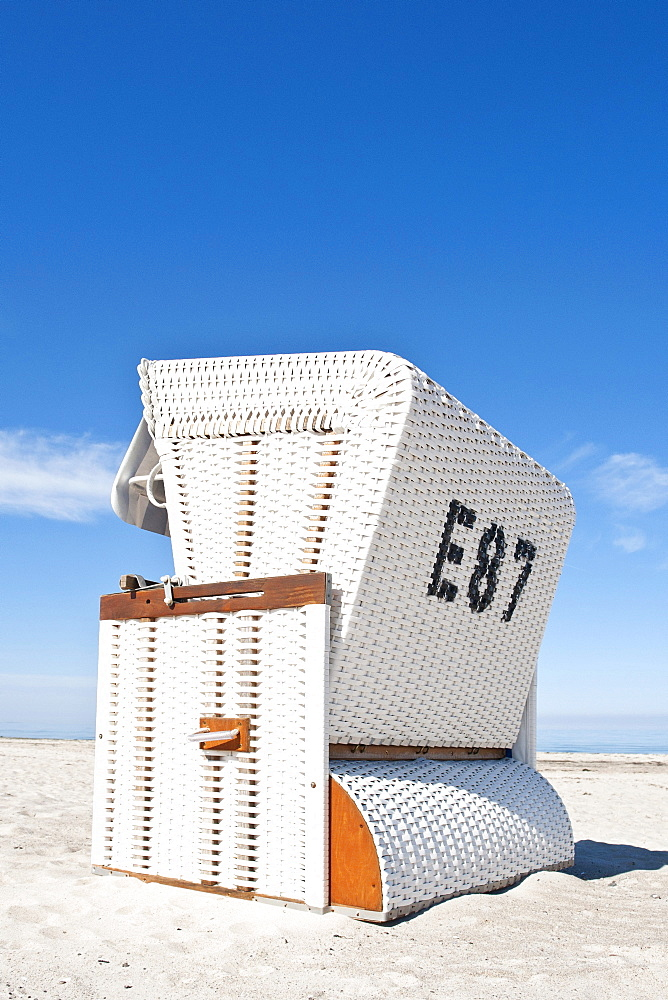 Beach chair on a beach, Baltic Sea, Boltenhagen, Mecklenburg-Western Pomerania, Germany, Europe