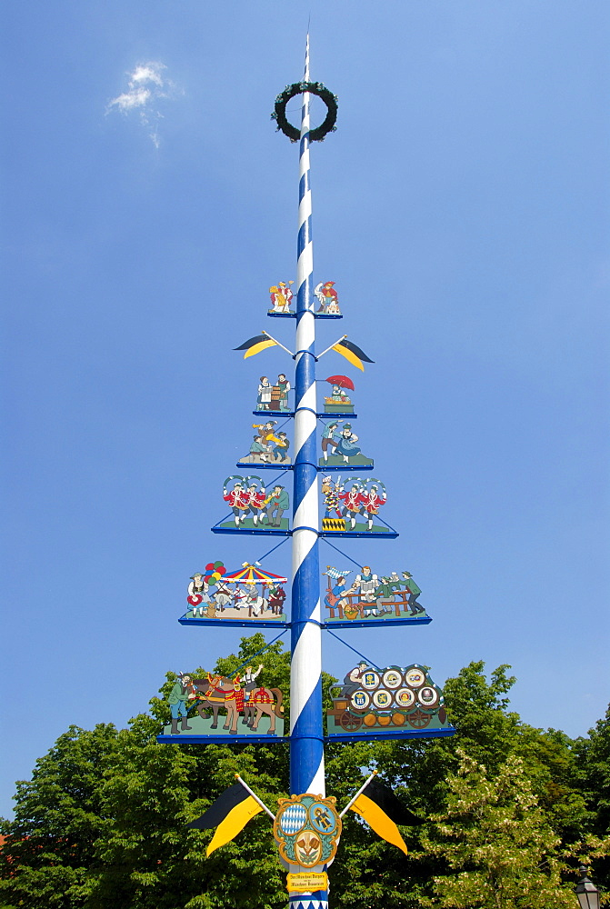 May pole with the social classes of Munich, Viktualienmarkt food market, downtown, old town, Munich, capital, Upper Bavaria, Bavaria, Germany, Europe