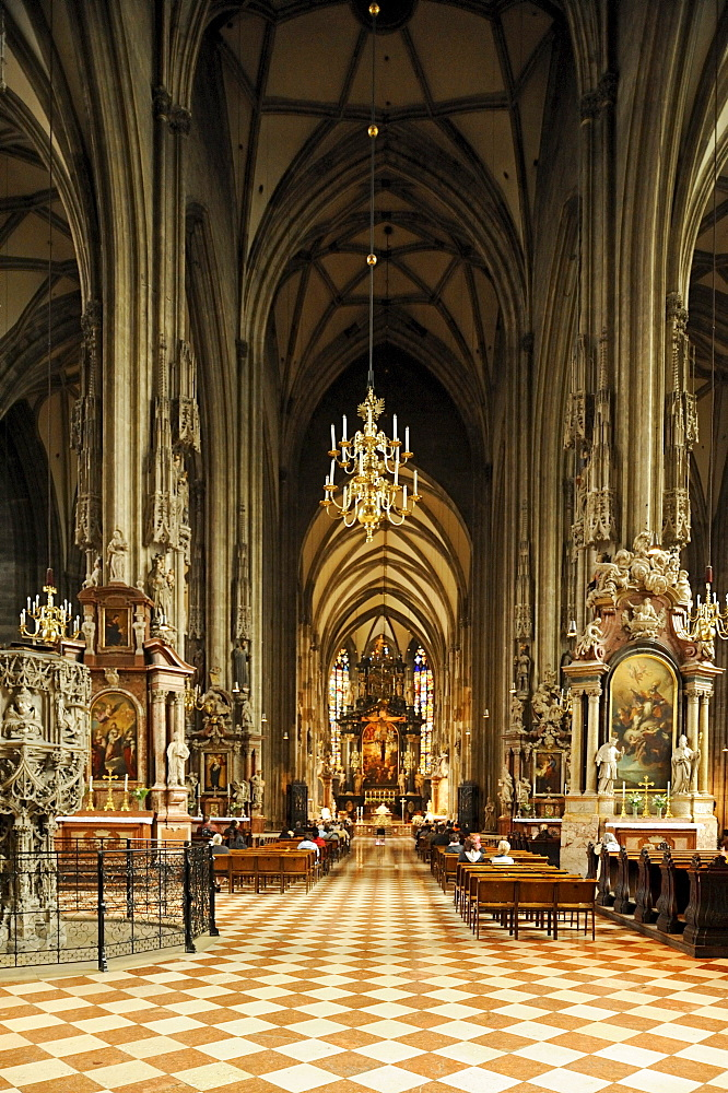 Interior view of St. Stephen's Cathedral, landmark of Vienna, Vienna, Austria, Europe