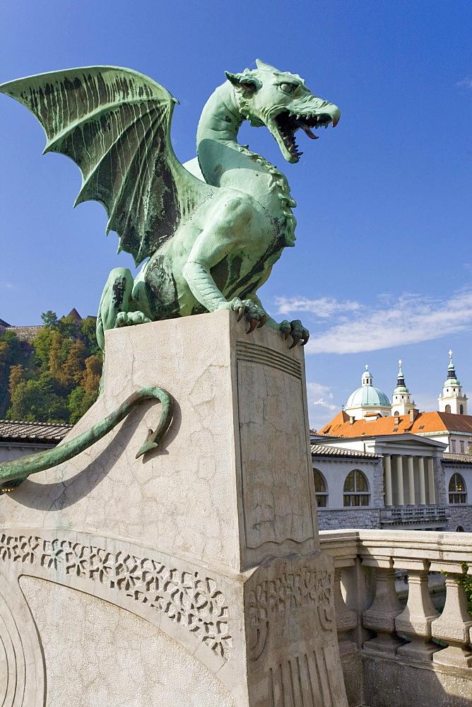 Dragon Bridge, St Nicholas Cathedral, Ljubljana, Slovenia, Europe