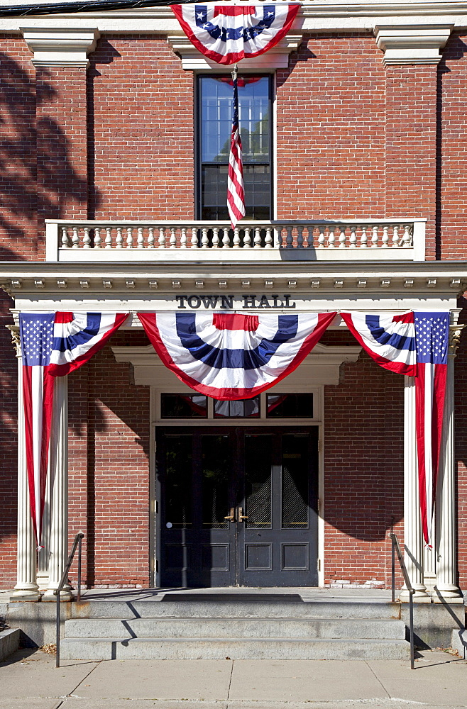 New England Town Hall, decorated for July 4, Groton, Massachusetts, USA
