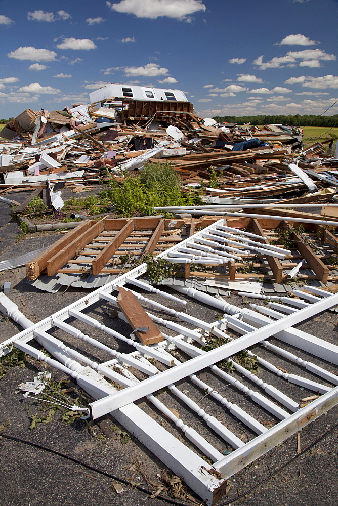 A house destroyed by a tornado, Dundee, Michigan, USA