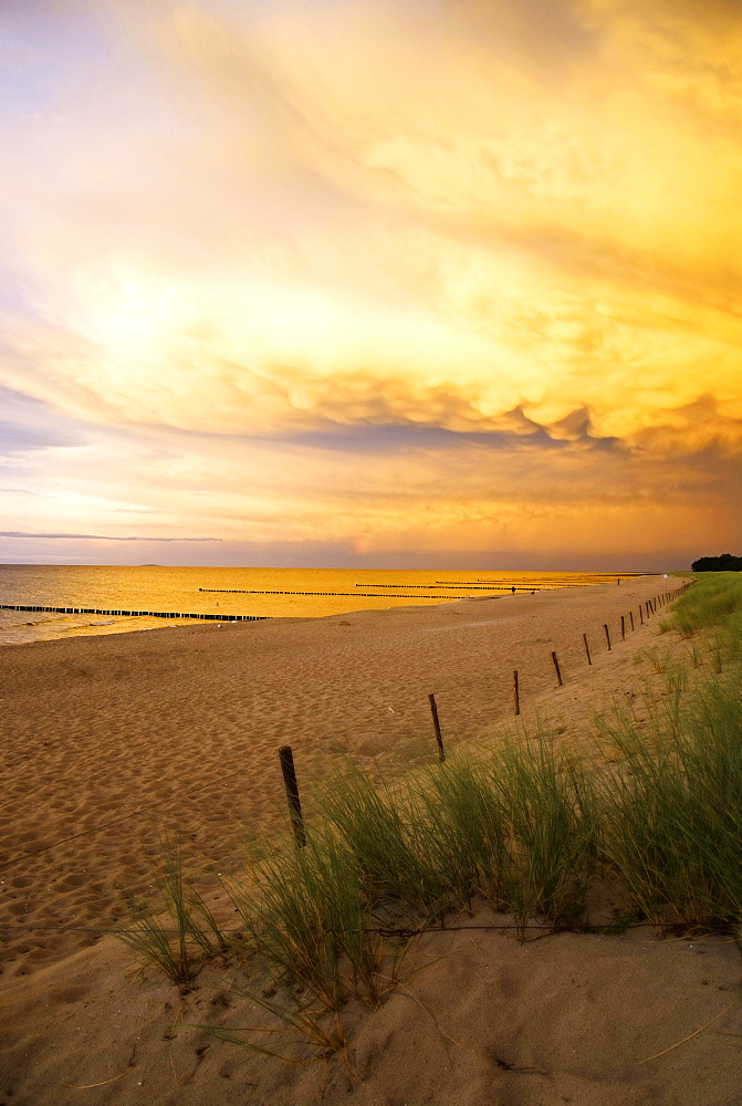 Beach at sunset, Fischland-Darss-Zingst peninsula, Baltic Sea, Mecklenburg-Western Pomerania, Germany, Europe