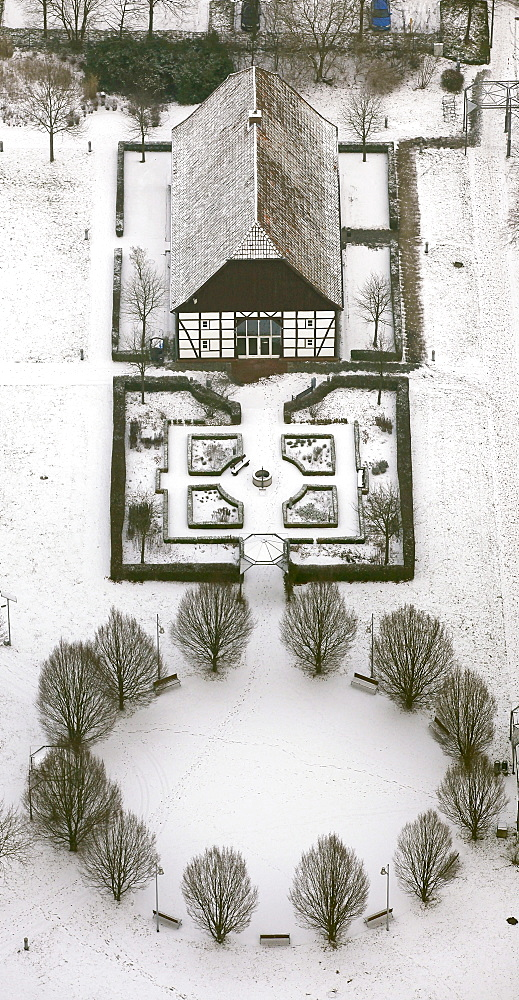 Aerial view, half-timbered house, ecology centre, snow, Heessen, Hamm, Ruhr area, North Rhine-Westphalia, Germany, Europe